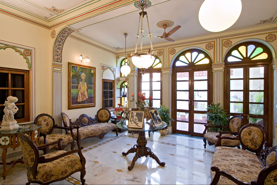 The lobby at Madhuban, often used by guests to relax and soak in the atmosphere